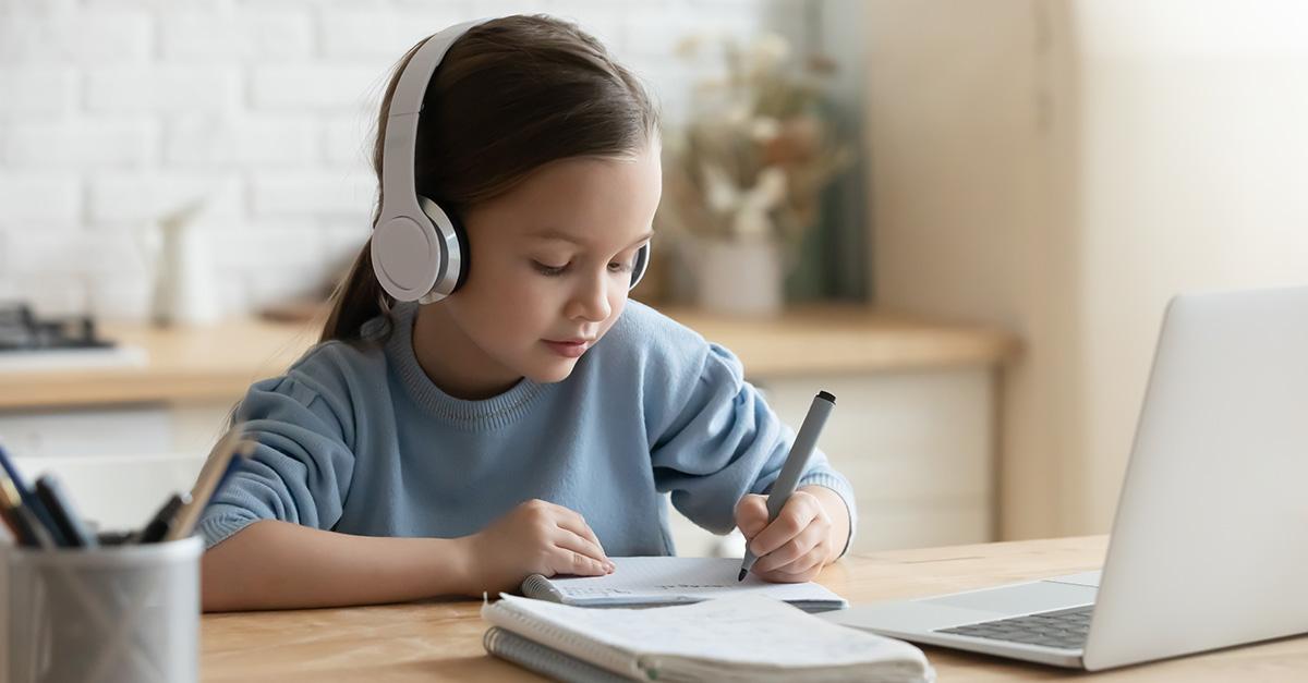 Girl coding at school