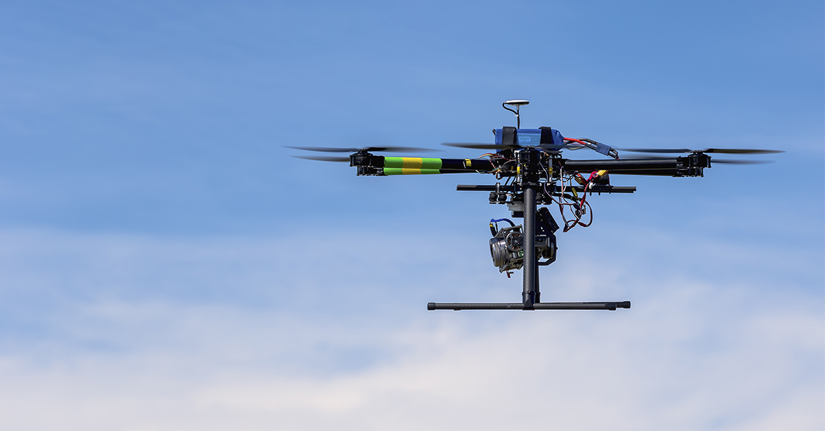 flying robot drone in air
