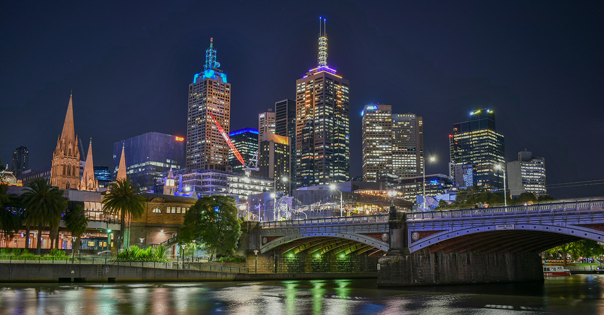 Nighttime in Melbourne Australia